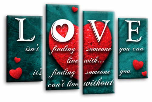 Love Heart Quote Canvas Wall Art Picture Red Teal Grey Print